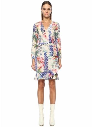 Samsoe & Samsoe Kruvaze Yaka Kuşaklı Çiçekli Midi Elbise Renkli